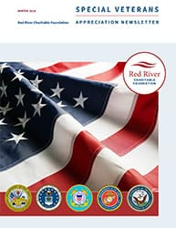 Cover of RRCF Fall 2018 Newsletter with United States flag and military logos