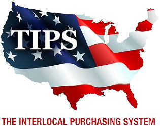 TIPS Logo - Map of United States with flag overlaying and white serif type over that