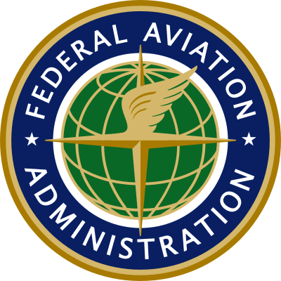 Federal Aviation Administration Logo - Circle with globe and white sans-serif type in middle