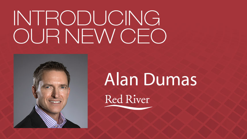 Headshot of Alan Dumas with white sans-serif type over a red checkered background