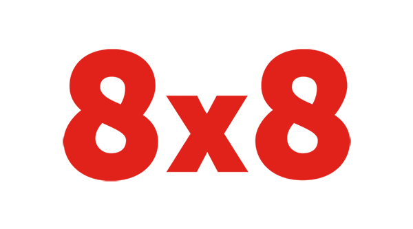 8x8 Logo - Red sans-serif type