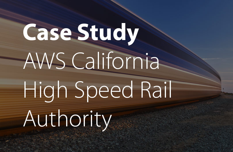 High speed rail with motion blur background with white sans-serif type overlaying