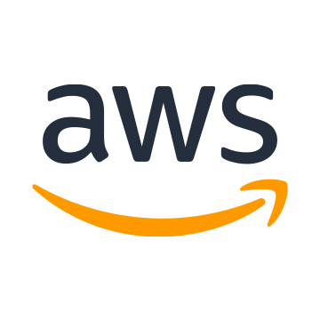 AWS Logo - Black sans-serif type with orange curved arrow below