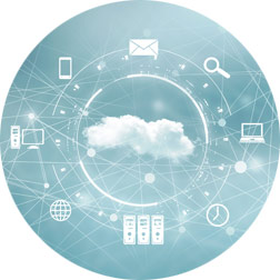 Illustration of cloud and technology icons in a circle around cloud