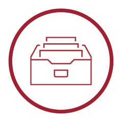 Archive Icon - White circle with drawer with folders inside