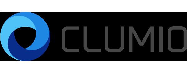 Clumio Logo - Dark gray sans-serif type with blue swoosh icon to left