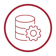 Disaster Recovery Icon - White circle with server and cog inside