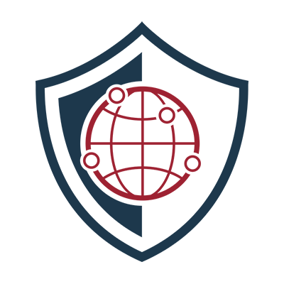 K 12 Managed Cybersecurity Programs Icon - Blue shield with red globe in center