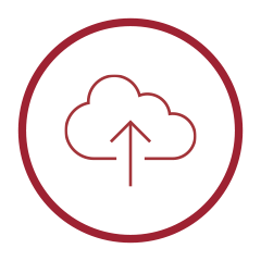 Primary Storage Icon - White circle with cloud and upward arrow inside