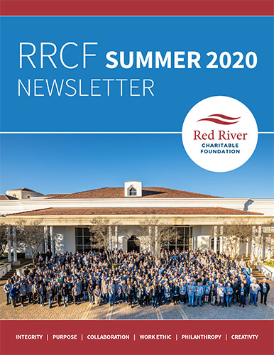 Cover of RRCF Summer 2020 Newsletter with logo over outdoor group photo