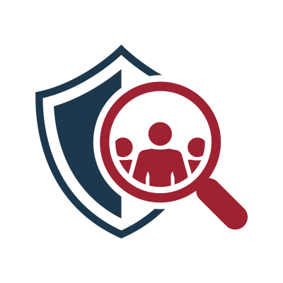 Secure EDU Posture Assessment Review Icon - Red magnifying glass with blue shield