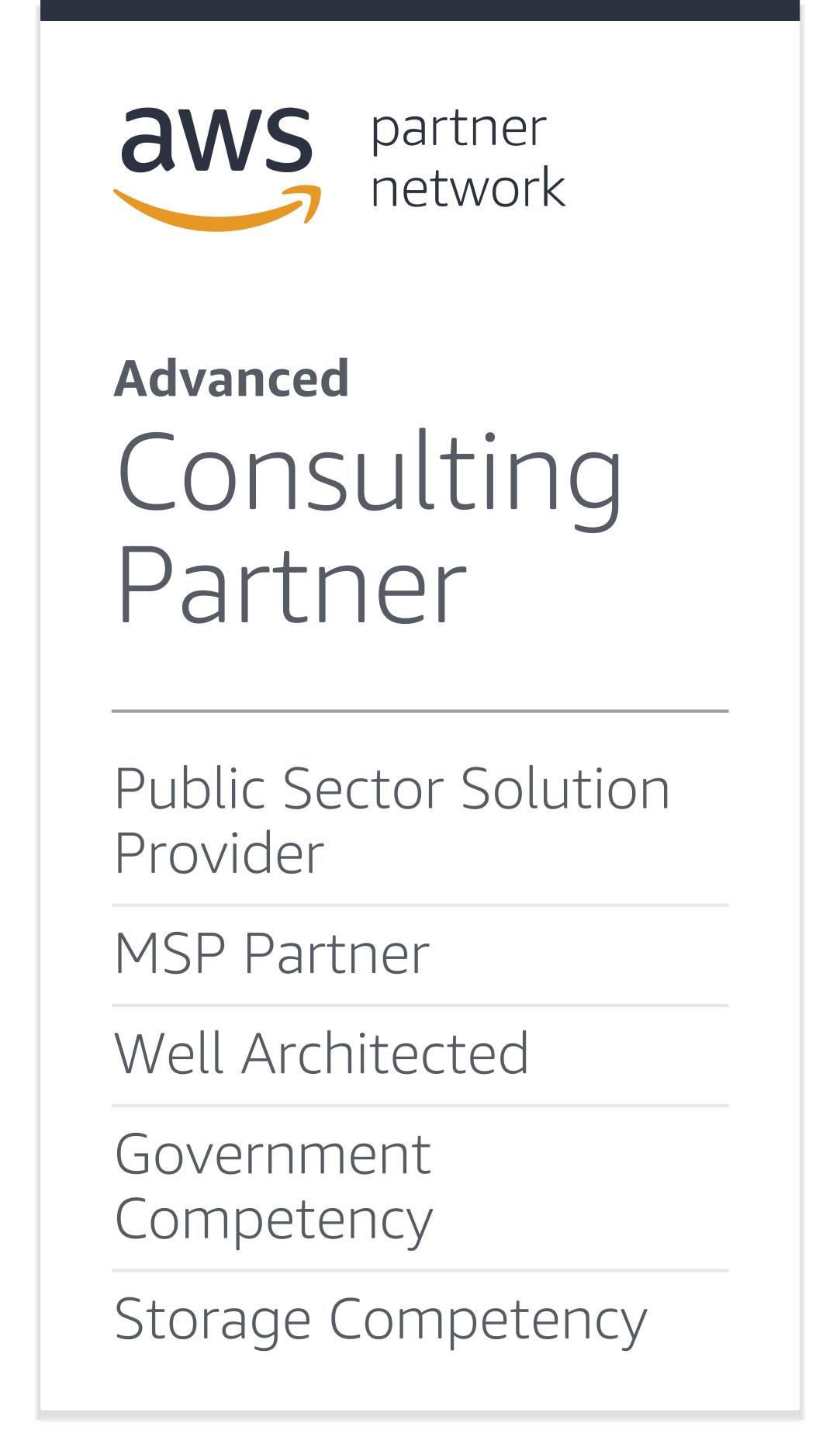 AWS Advanced Consulting Partner Logo - Gray sans-serif type
