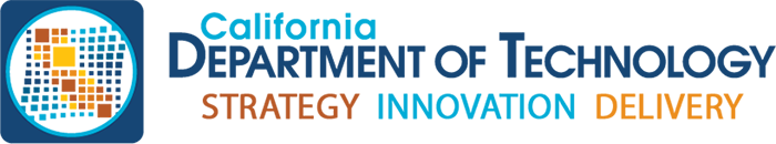 California Department of Technology Logo - Blue and orange sans-serif type with square icon to left