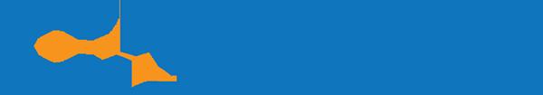 Calnet Logo - Blue sans-serif type with orange swoosh across letter A